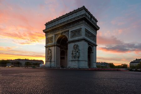 champs elysees: Arc de Triomphe and Champs Elysees, Landmarks in center of Paris, at sunset. Paris, France