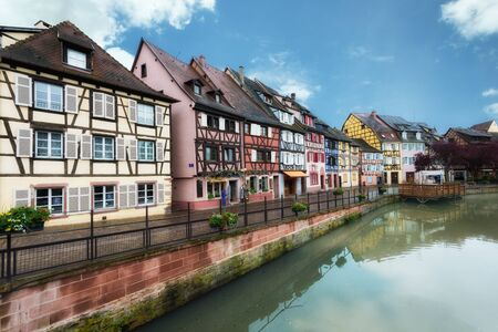 the little venice: Colorful traditional french houses on the side of river Lauch in Petite Venise, Colmar, France.