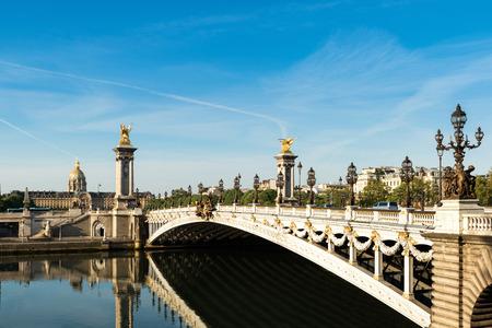 iii: Alexandre III bridge (Pont Alexandre III) and National Residence of the Invalids, Paris, France