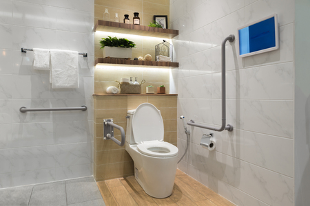 Interior of bathroom for the disabled or elderly people. Handrail for disabled and elderly people in the bathroom Imagens - 66529189
