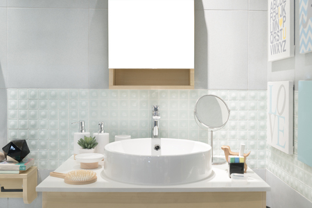Interior of bathroom with sink basin faucet and mirror. Modern design of bathroom. Banco de Imagens - 67389421