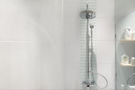 Interior of modern shower head in bathroom at home.Modern design of bathroom.