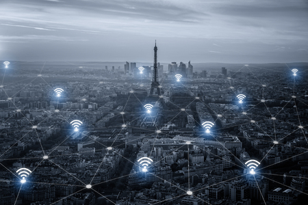 wireless connection: Paris smart city scape and network connection concept, wireless signal of internet in business city. internet connection. social on line business