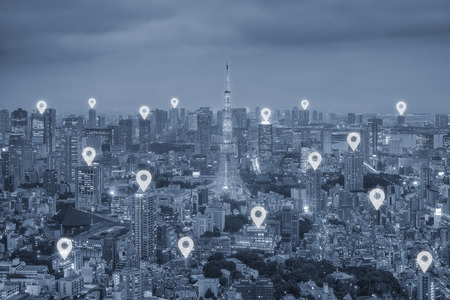 map pin: Map pin flat above Tokyo city scape and network connection concept. Tokyo smart city.