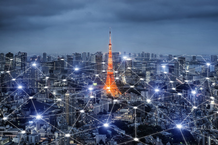 Smart city scape and network connection concept, wireless signal of internet in business city. internet connection.social on line business