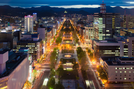 sapporo: Cityscape of Sapporo at odori Park, Hokkaido, Japan.Sapporo is the fourth largest city in Japan.