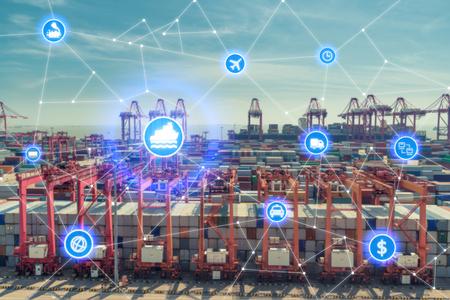글로벌 비즈니스 연결 기술 인터페이스 물류 가져 오기 내보내기 배경에 대 한 컨테이너화물화물 선박의 글로벌 파트너 연결. 비즈니스 물류 개념, 사