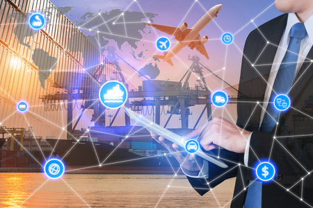 business connection: Global business connection technology interface global partner connection of Container Cargo freight ship for logistic import export background. Business logistics concept , internet of things Stock Photo