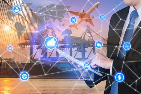Relation d'affaires interface technologie connexion partenaire mondial mondial de conteneurs Navire cargo de fret pour la logistique import export fond. logistique d'affaires concept, Internet des objets Banque d'images - 70722930