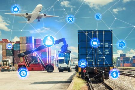 물류 수입 수출 배경 컨테이너화물화물 열차의 글로벌 비즈니스 연결 기술 인터페이스 글로벌 파트너 연결. 비즈니스 물류 개념, 사물의 인터넷
