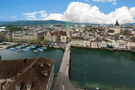 grossmunster cathedral: Aerial view of Zurich old town along Limmat river, Zurich, Switzerland.