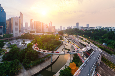 Traffic and road with city in Kuala lumpur, Malaysia