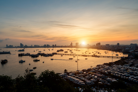 Pattaya city skyline and pier at morning in Pattaya, Chonburi, Thailand Stock Photo