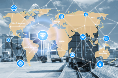 Concepto de tecnología inteligente con la asociación de logística global para el fondo de logística de importación y exportación