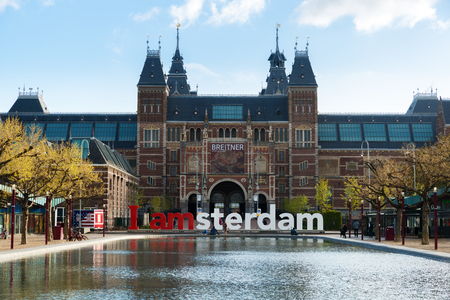 Amsterdam, Netherlands - May 03 2016: The Rijksmuseum Amsterdam museum area with the words IAMSTERDAM in Amsterdam, Netherlands.