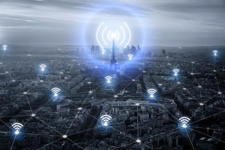 Paris smart city scape and network connection concept, wireless signal of internet in business city. internet connection. social on line business