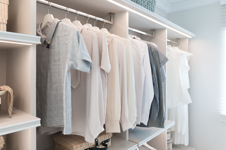 clothes rail: Modern interior wardrobe with shirt and dress in shelf.