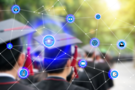 science education: Smart education and education icon network conection with graduation in background, abstract image visual, internet of things concept.