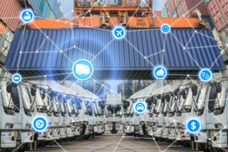 transport truck: Global business logistics system connection technology interface global partner connection Stock Photo