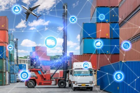 Global business connection technology interface global partner connection of Container Cargo freight truck for logistic import export background. Business logistics concept , internet of things