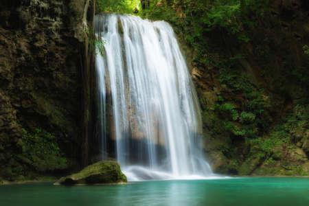 Erawan Waterfall is a beautiful waterfall in spring forest in Kanchanaburi province, Thailand.