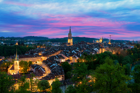 Bern. Image of Bern, capital city of Switzerland, during dramatic sunset. Stock Photo