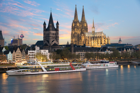 Aerial view Cologne over the Rhine River with cruise ship in Cologne, Germany.