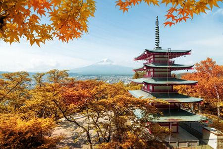 Mt. Fuji and red pagoda with autumn colors in  Japan,  Japan autumn season. Editorial