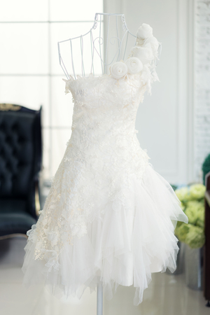 shop window: Beautiful wedding dresses on a mannequin in wedding studio.