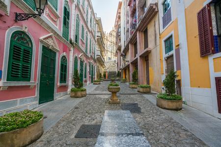 Scenic street in the old town in Macau (Macao) near Ruins of St Paul's in Macau (Macao) ,China.