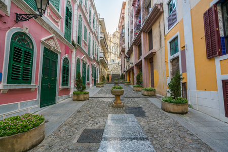 Scenic street in the old town in Macau (Macao) near Ruins of St Pauls in Macau (Macao) ,China. Banco de Imagens