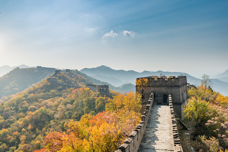 mutianyu: China The great wall distant view compressed towers and wall segments autumn season in mountains near Beijing ancient chinese fortification military landmark in Beijing, China.