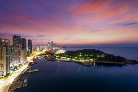 Night view of Haeundae beach. Haeundae beach is Busans most popular beach in South Korea. Imagens