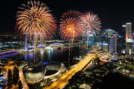 Aerial view of Fireworks celebration over Marina bay in Singapore. New year day 2018 or National day celebration at Singapore. Asia