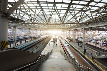 Seoul, South Korea - November 8, 2017 : High-speed bullet trains arrived at platform in Seoul station, South Korea.