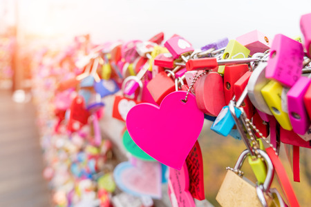 The Love Key Ceremony at N Seoul Tower in Seoul City, Korea. Located on Namsan Mountain in the center of Seoul City. Imagens