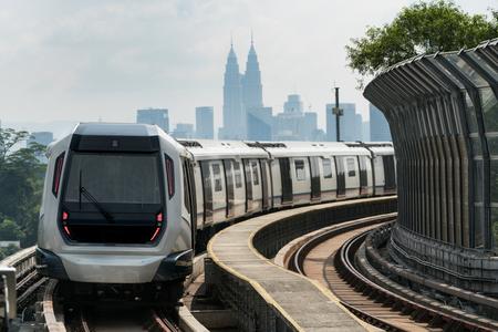 Kuala Lumpur Mass Rapid Transit (MRT) train approaching towards camera. MRT system forming the major component of the railway system in Kuala Lumpur, Malaysia.