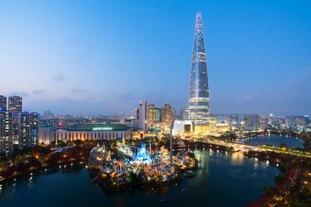 South Korea skyline of Seoul, The best view of South Korea with Lotte world mall at Jamsil in Seoul.