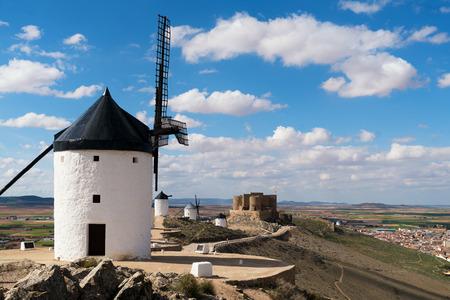 Madrid travel destination. Landscape of windmills of Don Quixote. Historical building in Cosuegra area near Madrid, Spain. Stock Photo