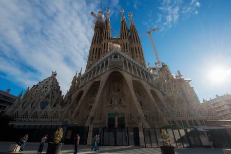 Barcelona, Spain - April 10,2018 : View of the Sagrada Familia, a large Roman Catholic church in Barcelona, Spain, designed by Catalan architect Antoni Gaudi.