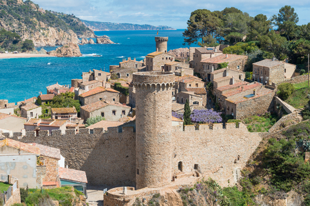 Aerial view of Fortress Vila Vella and Badia de Tossa bay at summer in Tossa de Mar on Costa Brava, Catalonia, Spain Stok Fotoğraf