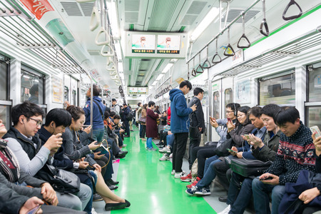 Inside view of Metropolitan Subway in Seoul, one of the most heavily used underground system in the world at Seoul, South K