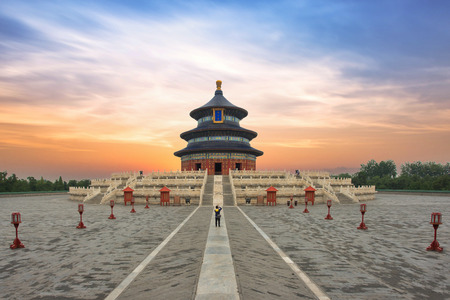 Wonderful and amazing Beijing temple - Temple of Heaven in Beijing, China. Hall of Prayer for Good Harvest.