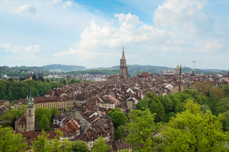 City of Bern skyline with nice beautiful sky in Bern, Switzerland. Europe. Stok Fotoğraf