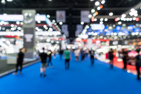 Blur, defocused background of public exhibition hall. Business tradeshow, job fair, or stock market. Organization or company event, commercial trading, or shopping mall marketing advertisement concept 免版税图像 - 114755584