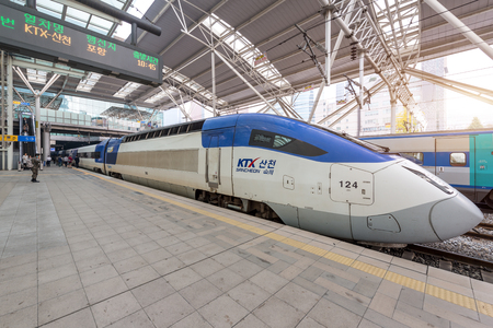 Seoul, South Korea -November 8, 2017 : High speed bullet trains (KTX) and Korail trains stop at the Seoul station in South Korea.
