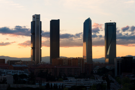 Madrid Four Towers financial district skyline during sunset in Madrid, Spain. Stok Fotoğraf
