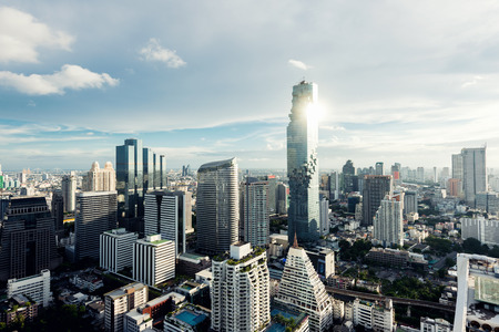 Modern building in Bangkok business district at Bangkok city with skyline at evening, Thailand.