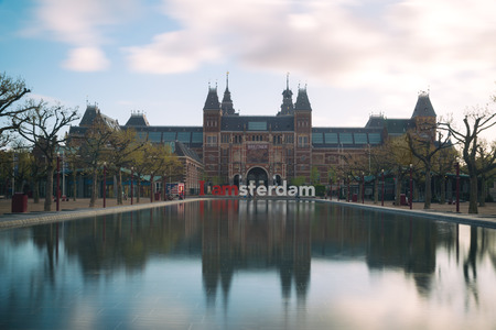 Amsterdam, Netherland - May 03, 2016: Rijksmuseum Amsterdam museum area with the words IAMSTERDAM is shown in Amsterdam, Netherlands. Editorial