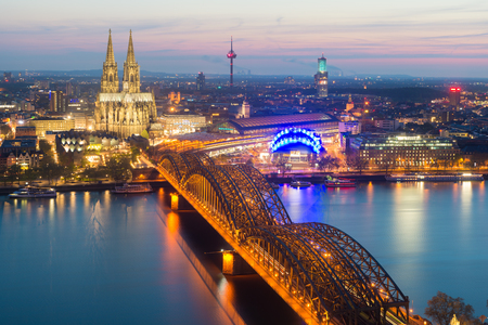 Image of Cologne with Cologne Cathedral during twilight blue hour in Germany.